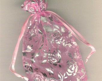 "DOLLAR DEAL- Pink Organza Gift Bag, Silver Roses, Gift Pouch, 5"" Organza Gift Pouch, Organza Present Bag, Pink Gift Bag, Jewelry Bag, Bridal"