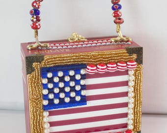 Patriotic USA Red White and Blue Cigar Box Purse
