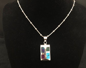 Sterling Silver Inlay Rectangle Pendant