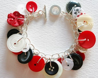 White Black Red Button Charm Bracelet