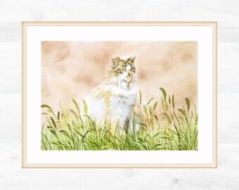 Portrait white cat in the garden. Mother's day gift idea. Print 21x29 cm