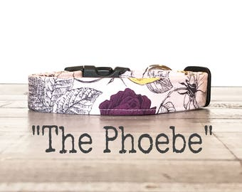 LaST CHaNCe!, Dog Collars for Girls, Floral DOG COLLAR, Dog Collars, The PHOEBE, Pink, Floral, Black, Pretty Dog Collar