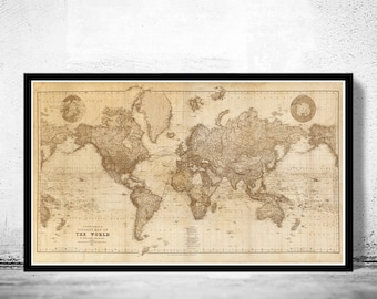 Beautiful World Map Vintage Atlas 1898 Mercator projection SEPIA