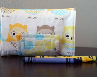 READY TO SHIP - Crayon Organizer - Owls - Geometric - Aqua - Yellow - Brown - Crayon Holder - Crayon Roll - Boy Gift Under 20 - Christmas St