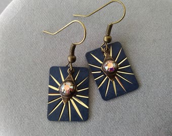 Navy Blue and Antiqued Brass Rectangle Earrings