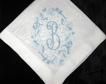 Something Blue for Bride, Monogram Vintage Handkerchief Initial Letter Hankerchief Embroidery, First or New Last Name Initial