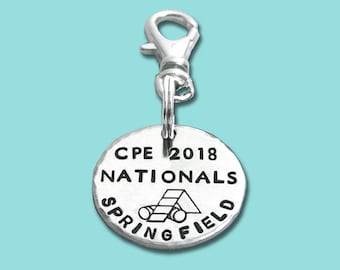 CPE 2018 National Championship Commemorative Charm - Hand Stamped Sterling Silver - Dog Agility - Canine Agility