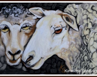 SOLD Sheep art sheep decor sheep gift white sheep black sheep sheep wall art