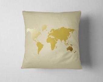 World Map Pillow, Gold Pillow, World Map, 16x16 Decorative pillow,  Home decor, Throw pillow, Pillow cover, Birthday gift, Map Pillow