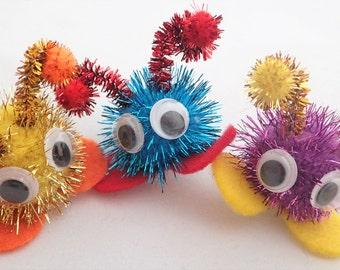 Warm Fuzzies/ Glitter Warm Fuzzy Pom Pom Creatures / Quiet Critters with antenna - 1 inch