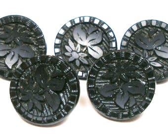 "1800s daisy glass BUTTONS, 5 Victorian black glass withfloral design, 1/2""."
