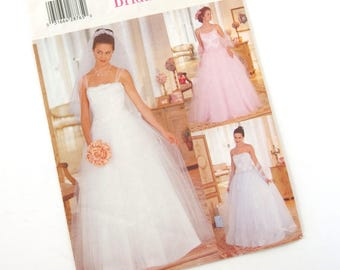 Vintage 1990's Wedding Gown Pattern Butterick 5872, Size B 8, 10, 12; Bust 31.5, 32.5, 34 Inches