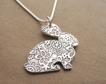 Rabbit Necklace, Flowered Rabbit, Bunny Necklace, Fine Silver, Sterling Silver Chain, Made To Order
