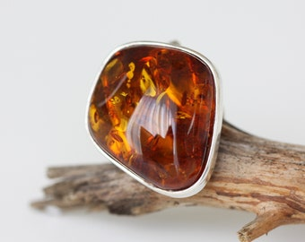 Baltic amber ring - Sterling silver ring - Adjustable Ring - Amber Silver Ring - Natural amber ring - Gift for her - Gift for women