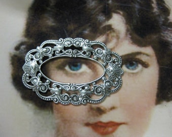 Sterling  Silver Ox Plated Filigree Frame Jewelry 11SOX x2