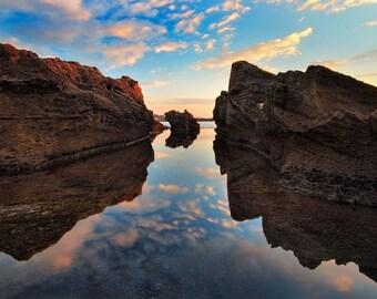 Landscape Photography, Sunset at  Dor Beach,Wall Decor, Nature,  Fine Art Photograph, eascape Photography, sunset, rock, Reflection