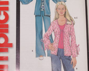 Girls Simplicity Pattern 5277 for Top Jacket Pants Sizes 8-16
