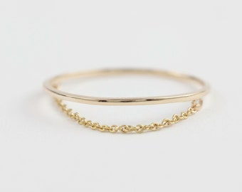 Chain ring, solid 14k gold,1mm gold wire ring with drape chain, simple gold ring, rose gold, white gold