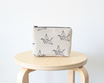 Cosmetic bag, Zipper pouch, Small clutch, Origami bird print, Origami crane, School supplies, Birds, Nature, Natural linen look