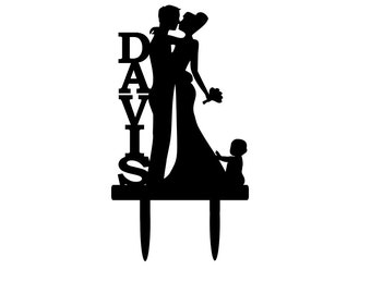 Personalized Bride And Groom Silhouette Wedding Cake Topper With Baby Dancing