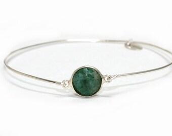 Womans Sterling silver bracelet, gemstone,  dark green Chrysoprase , artisan, semiprecious, narrow, bangle, gem, free worldwide shipping!
