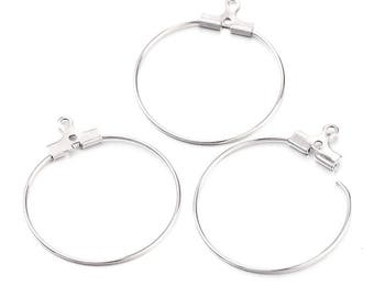 10 rings 30mm silver plated brass hoops