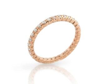 High quality eternity band ring. Eternity cz silver band ring. Stackable silver ring. Eternity cz gold band ring. Rose gold eternity ring.