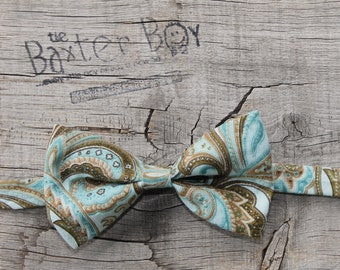 READY TO SHIP --- Turquoise and Brown paisley print  little boy bow tie, photo prop, ring bearer, wedding
