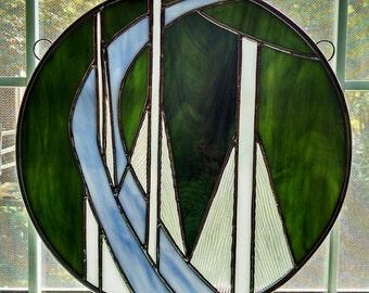 Stained Glass Bridge Panel - Abstract Round Window Suncatcher - Modern Art - Bridge Art - Glass Art - Privacy Screen - Engineer Gift