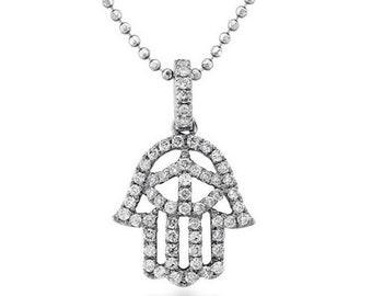 Hamsa Pendant in 14K White Gold with 0.30 Caret White Diamonds