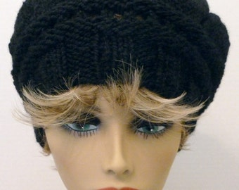 Mans or Womans Hand Knit Star Pattern Slouch Hat Beret  Color Black (H-131)