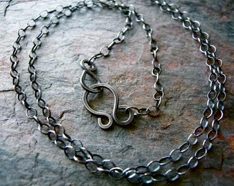 Sterling Silver Cable Chain with Handmade Hook and Eye Clasp