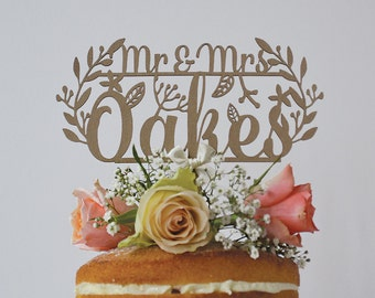 Rustic Wedding Cake Topper, Personalised Mr and Mrs Woodland Cake Topper, Rustic Wedding Decor, Customised Cake Topper, Luxury Cake Topper