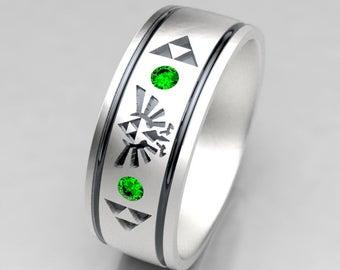 Zelda Wedding Ring, Mens Zelda Silver Wedding Band with Emerald, Size 9 Ring, Size 10 ring, Legend of Zelda Geek Mens Emerald Wedding Ring