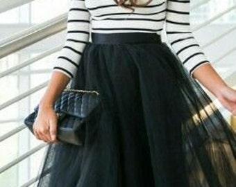 Black maxi tulle skirt, tutu skirt,