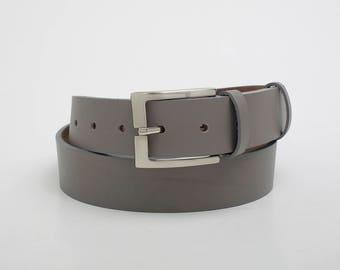 Leather Belt, Gray Leather Belt, Mens Belt