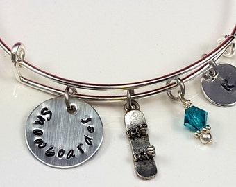Snowboarder Gift Gift for snowboarder Skier Gift Ski Gift Snow Sports Gift Expandable Bracelet Custom Hand Stamped Personalized Gift