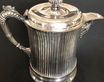 Antique Porclein Lined Silverplate Water Pitcher by Forbes Silver Co