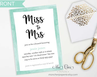 Mint Water Color Bridal Invitation / Bridal Shower Invitation / Mint Invitation /