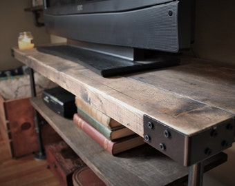 Industrial Style TV Console Table, Pipe & Wood, Handmade in Michigan