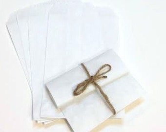 100 Size 4 x 6 White Kraft Favor Bags, Candy Buffet Bags, Flat Pinch Bottom, Stampable