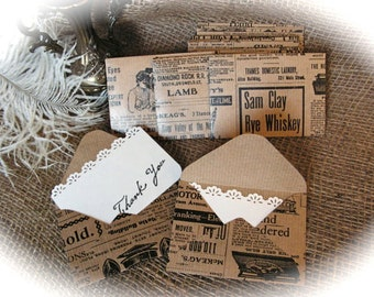 Rustic Mini Envelopes With Lace Thank You Card.- set of 10.