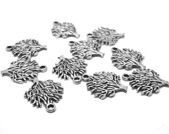 10 charms tree silver metal 2 cm long and 1.4 cm wide
