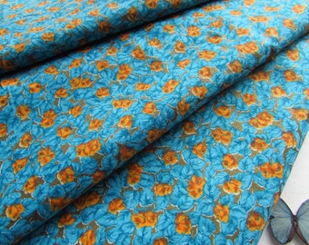 Brilliant Turquoise Fabric - Yellow Orange Roses - Almost 4 Yards