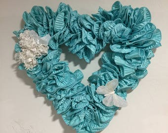 Heart wreath, turquoise wreath, heart shaped wreath, heart wall decor, indoor heart decor, heart wall art, heart shaped wall decor,