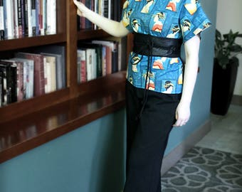 Blue Block Geisha Fabric Shirt