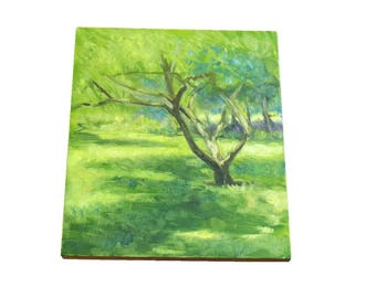 oil painting // landscape sunny tree // artistic work of art // hand-painted impressionism contemporary art