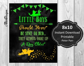 Little Boys, Peter Pan, Lost Boys, Nursery, Boys Room, Printable, Instant Download 8x10