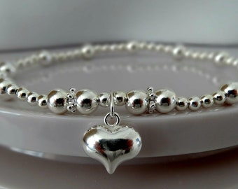 heart silver stretch stacking bracelet charmed all sizes 925