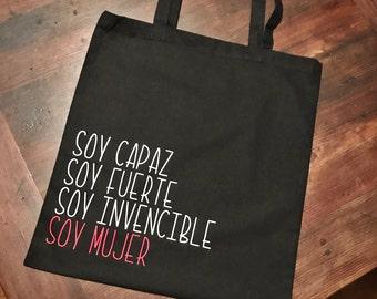 Soy mujer, feminism, political, persist, resist, tote, book bag
